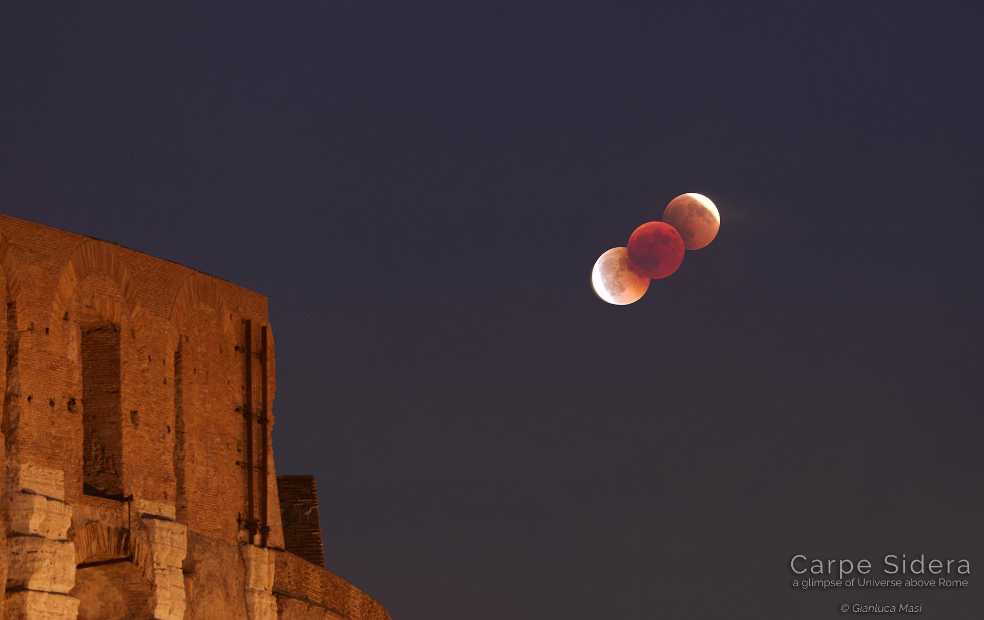 La Luna in eclissi sospesa sul Colosseo - 27 luglio 2018