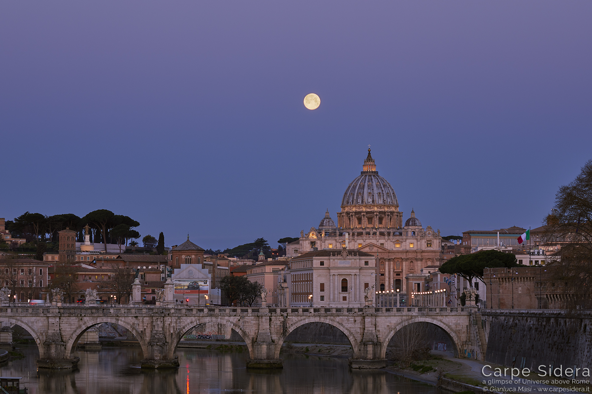 The Equinox Supermoon hangs above St. Peter's Dome in Rome - 21 March. 2019