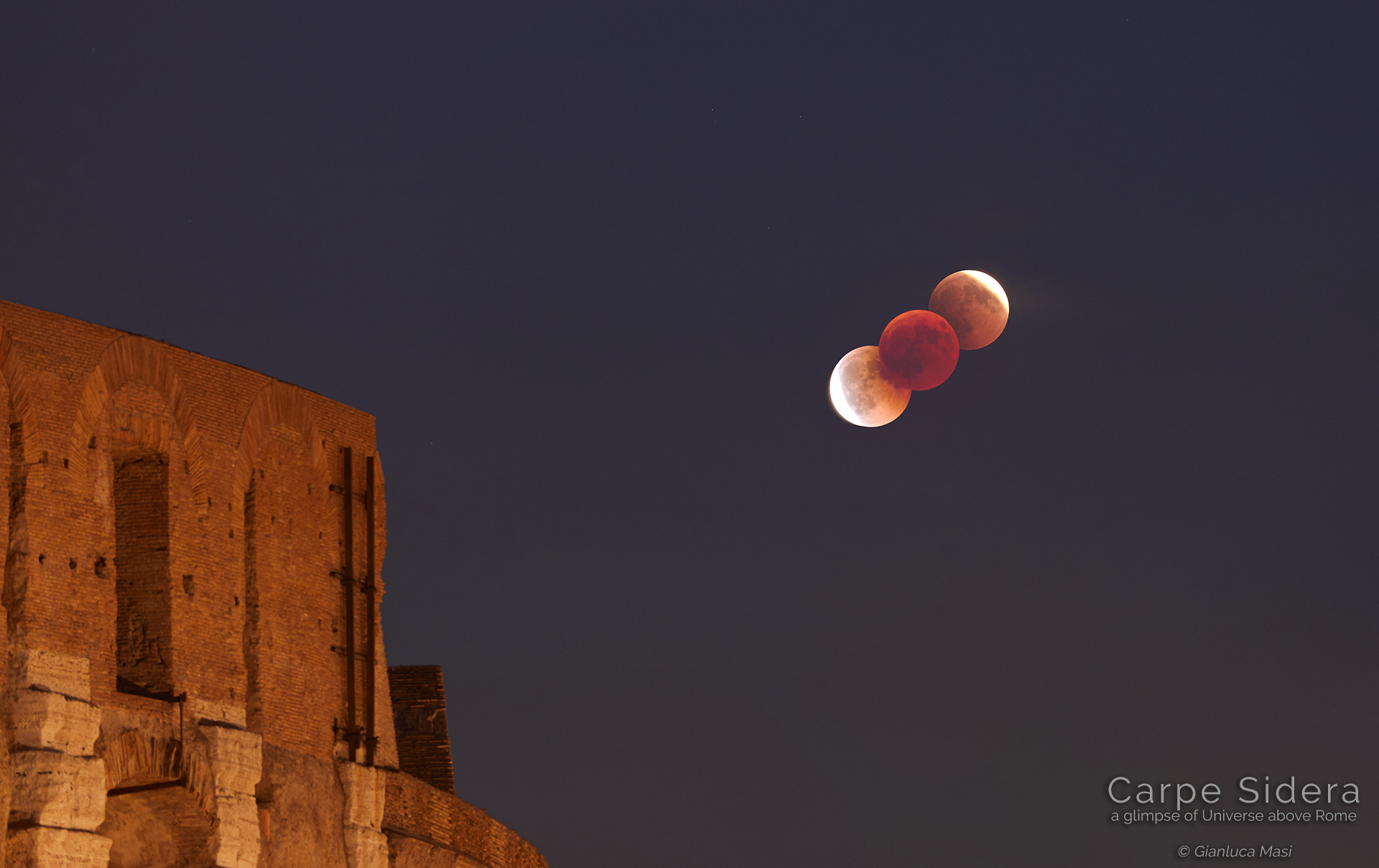 The totally eclipsed Moon shows its beauty above the Colosseum - 27 July 2019