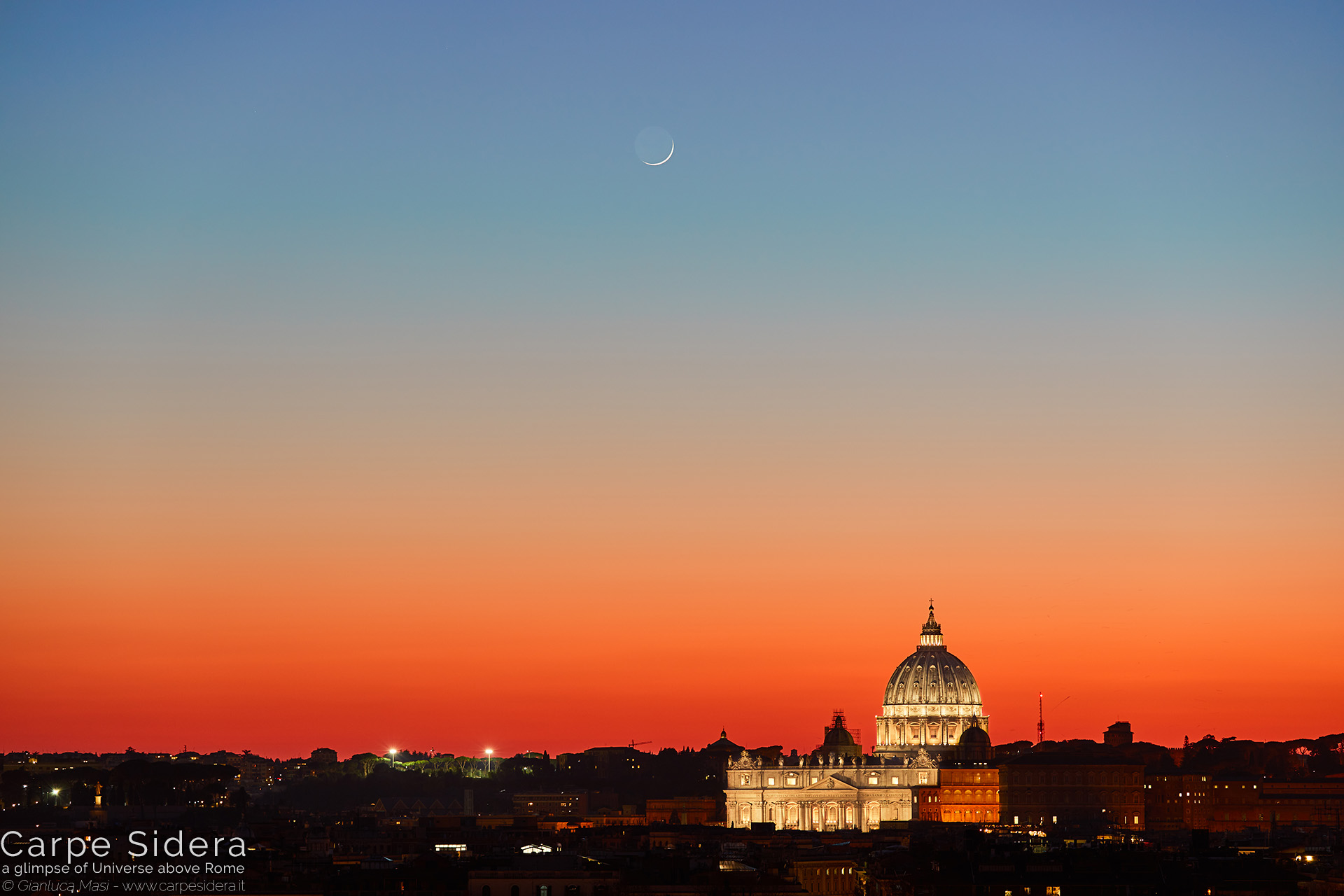 16. A sharp Moon crescent shines above the dome of St. Peter's, at sunset.