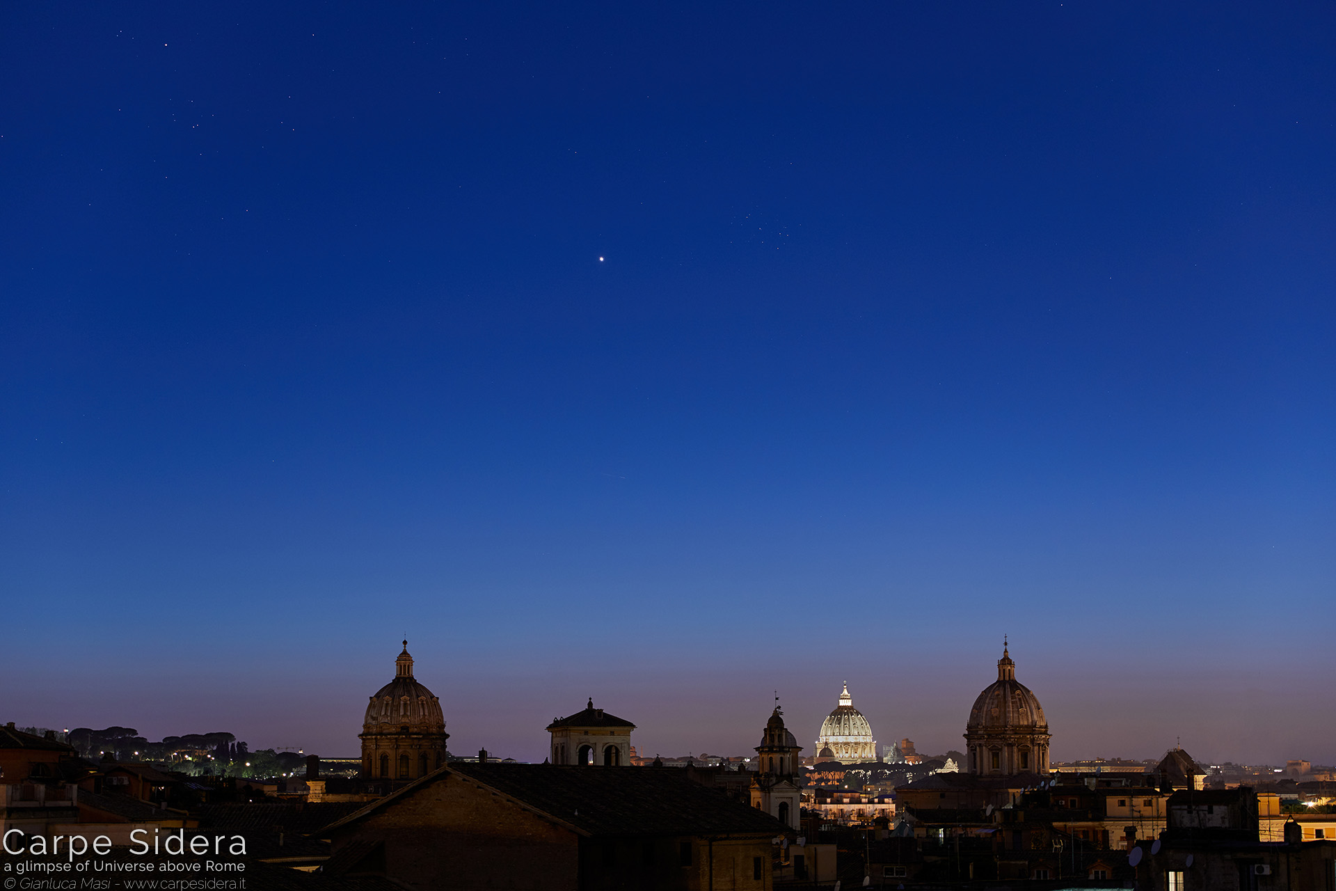 17. Planet Venus and the Pleiades have a conjunction above some domes of the Eternal City.