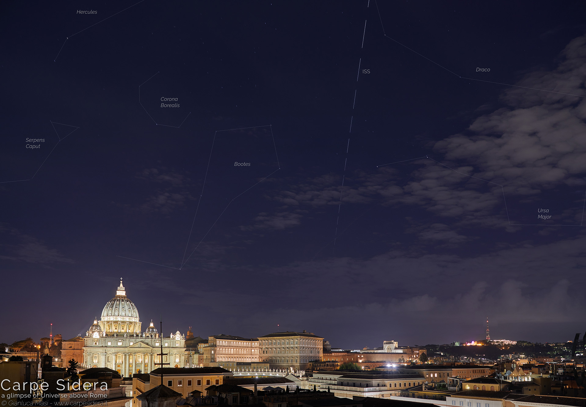 21. The International Space Station (ISS) passes above the St. Peter's Basilica.