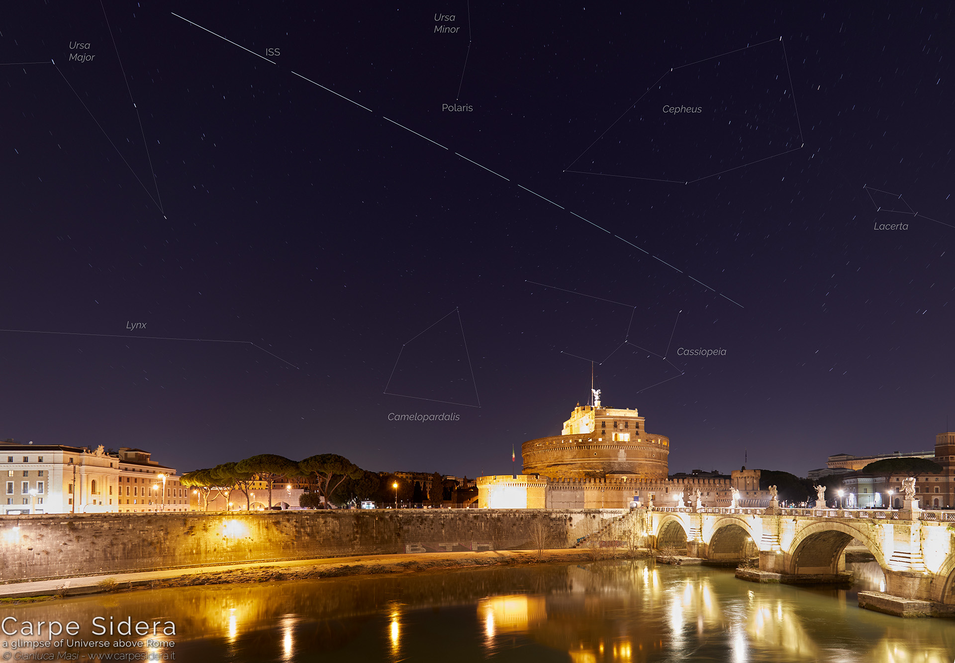 23. Castle of the Holy Angel, the Tiber and the International Space Station (ISS).