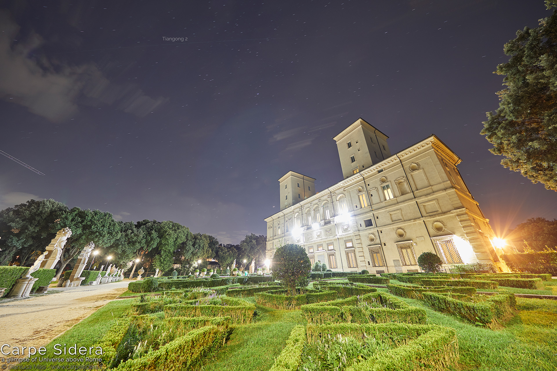 24. The Tiangong 2 Chinese space station passes above Galleria Borghese.
