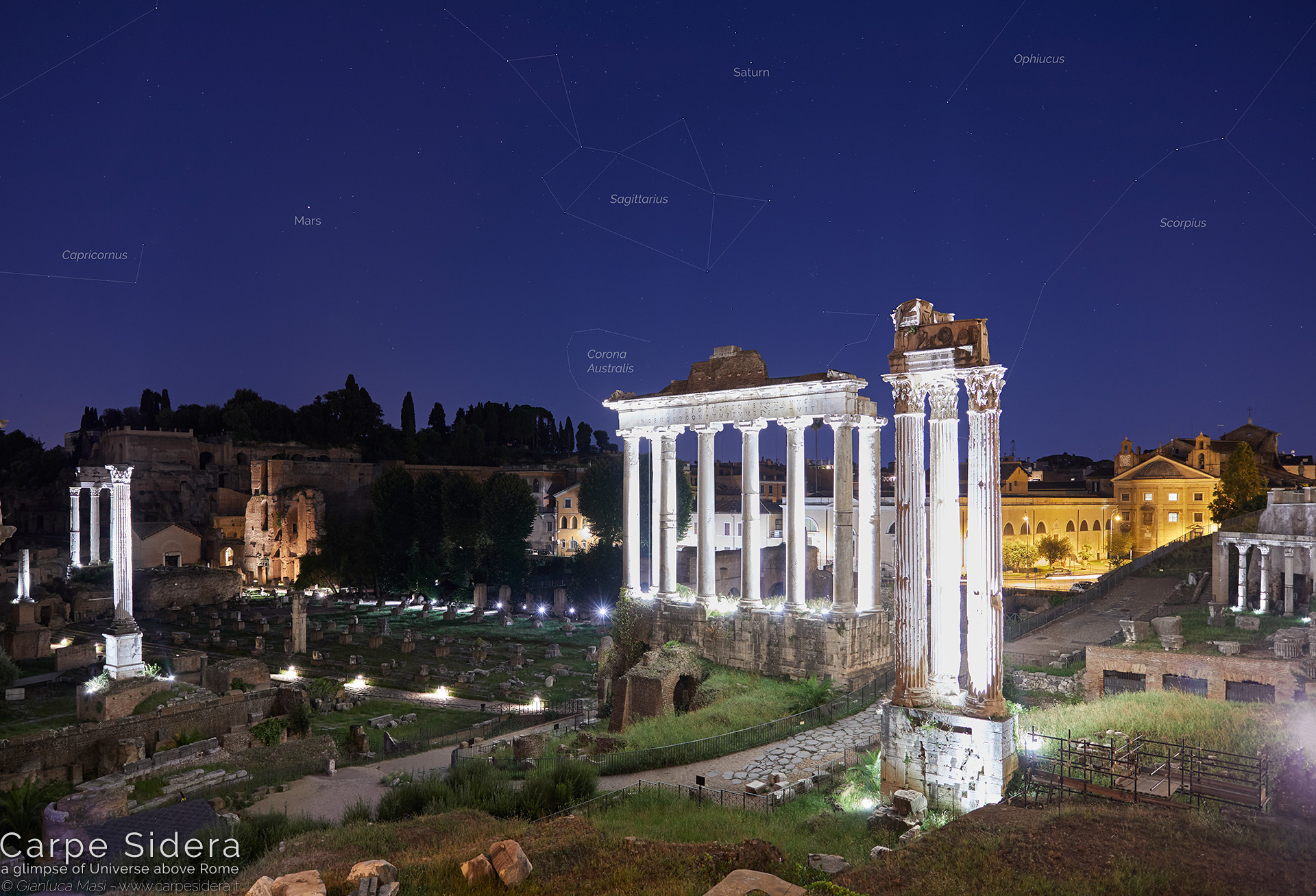 26. Planets Saturn and Mars shine above the Temple of Saturn and the Temple of Vespasian and Titus.
