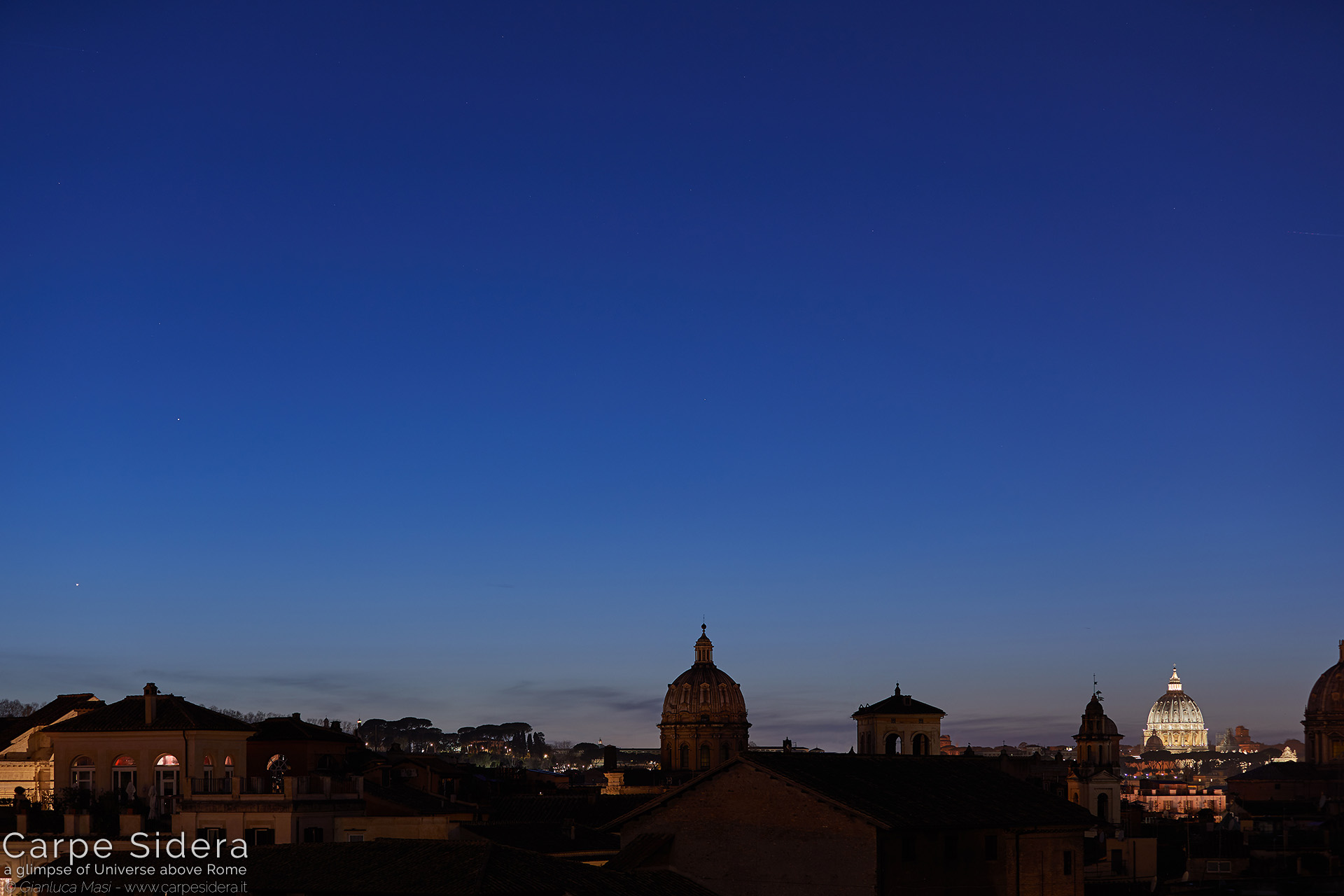 27. Planets Venus and Mercury light up at sunset, beside the dome of St. Peter's.